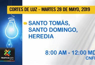 Vecinos de Santo Tomás de Santo Domingo de Heredia no tendrán electricidad hoy