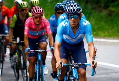 Andrey Amador acompaña a su compañero Carapaz en el Giro de Italia | MOVISTAR TEAM