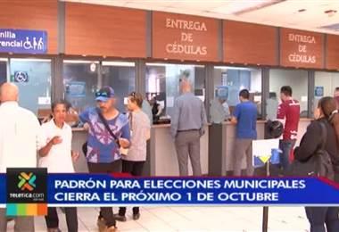 Padrón electoral para elecciones municipales del 2020 cerrará el próximo 1 de octubre