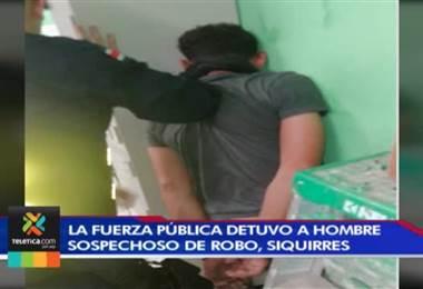 Fuerza Pública detuvo a un hombre que estaba robando en un supermercado en Siquirres