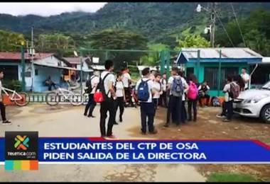 Estudiantes del CTP de Osa piden al MEP cambiar a la directora del centro educativo