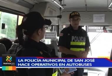 Policía Municipal de San José realiza operativos en buses para frenar tráfico de drogas