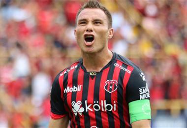 Kenner Gutiérrez marcó el gol 5 mil de Alajuelense en Primera | CORTESÍA PRENSA LDA
