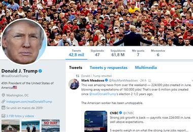 Twitter de Donald Trump. Captura de pantalla