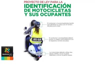 Motociclistas se oponen al proyecto para colocar el número de placa en cascos y chalecos