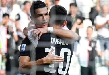 Cristiano Ronaldo celebra su gol ante la SPAL, tras asistencia de Dybala | AFP
