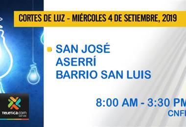 Vecinos de barrio San Luis de Aserrí, se les informa que hoy habrá suspención del servicio eléctrico