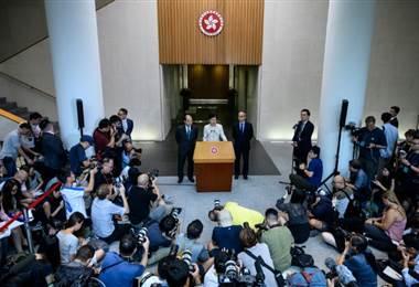 Autoridades de Hong Kong. AFP