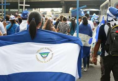 Exiliados nicaragüenses se manifiestan en una protesta realizada en San José, Costa Rica
